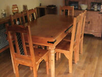 5ft solid wood dining table and 6 chairs