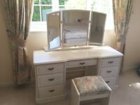 Olympus Ivory Dressing Table & 3 Fold Mirror