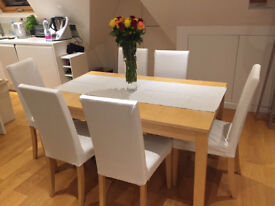 Ikea extendable dining table and 6 chairs