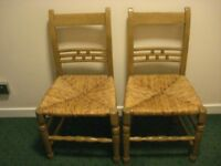 PAIR ANTIQUE VINTAGE OLD SOLID WOOD CHAIRS*HAND MADE *collect Chelsea London, SW10*