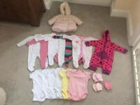 SMALL BUNDLE OF NEWBORN ESSENTIALS INCLUDING A NEXT WINTER COAT - BABY CLOTHES - GIRLS