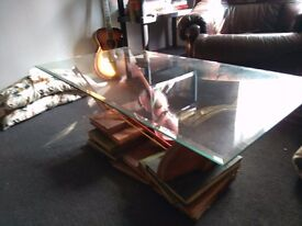 Unique Coffee Table One of a kind Violin Music musicians glass coffee table