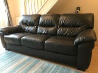 Brown three seater leather sofa, under two years old, mint condition, no kids or pets in the house