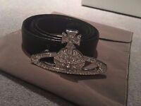 Vivienne Westwood Bas Orb Relief genuine classic signature belt, Swarovski Crystal encrusted
