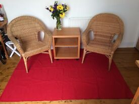 IKEA furniture - instant room set: pair of rattan chairs, small TV unit and rug