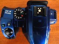 Used Pentax K-30 DSLR (BLUE), body only (no lens), original box, manual, excellent condition