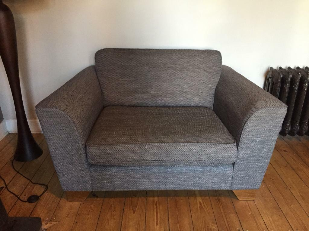 """M&S """"loveseat"""" small couch sofa / large armchair grey very ..."""