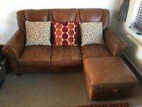 Gorgeous rustic Barker & Stonehouse 3+2 sofa settee in Tan Leather