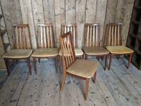 x6 G Plan Sierra [Fresco] dining chairs Danish style teak mid century modern vintage gplanera