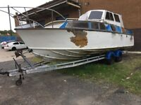 boat. fairey huntsman fast cruiser on trailer. project. quick sale £5000.
