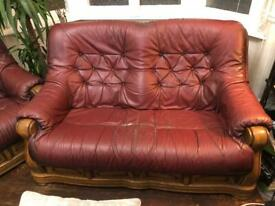 Free leather 2 seater, wood and red leather sofa