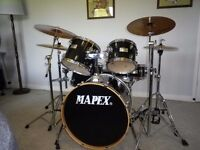 Mapex V Series Drumkit, Full Hardware set and Zildjian Scimitar Cymbal set - With new Evans heads