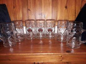 Glass beer stein, boot & horn