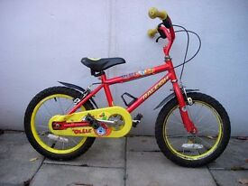 Kids Bike, by Raleigh, Red & Yellow, 16 inch Wheels for Kids 5+ Years, JUST SERVICED / CHEAP PRICE!!