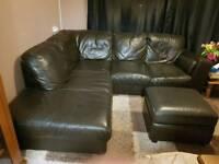 Brown leather corner settee