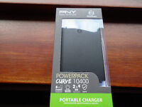 """""""PNY"""" POWERPACK CURVE 10400 PORTABLE CHARGER for SMARTPHONES and TABLETS, BRAND NEW in SEALED BOX"""