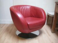 Fabulous Real Leather Swivel Armchair with Chrome Base - Very good condition 2
