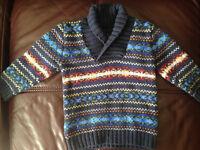 Boys H&M L.O.G.G shawl-neck designer wool Jumper 12-18m