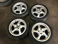 "artec turbo alloys 4x100 15"" 7j et35 with tyres ek4 vti ej9 eg"