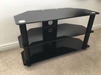 Black Glass TV Stand Unit Excellent Condition