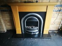 Cast Iron Electric Fire Place with Wooden Surround