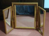 Pine triple dressing table top mirror