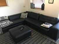 DFS Black Leather Corner Sofa with Footrest