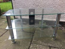 Clear Glass TV Stand 3 Tier Extra Large