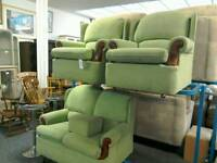Two-seater Green sofa and two chairs with footstool #32835 £85