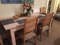 Rectangular Lined Washed Dining Table And 4 Chairs With Fabric Seats Matching Console