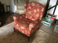 Armchair Wingback Floral Pattern