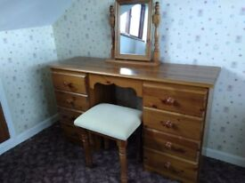 Pine Dressing Table & Stool With Mirror
