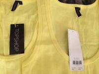 Top Shop Size 12 New Yellow Vest Top X 2