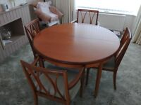 G-plan extending dining table and chairs