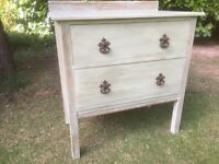 Hand Painted Small Oak Vintage Chest of Drawers