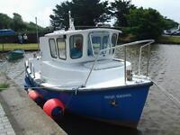 Cheverton 18ft launch with wheelhouse and twin saab engine.Has fish finder and ship to shore radio.