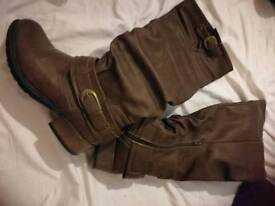 Brown high boots