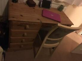 Pine dressing table and chairs