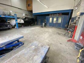Car Bodyshop Repair Garage with: SprayBooths Jig Ramp Mezzanine Floor 5 Parking Spaces & 20 YR LEASE