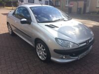 Peugeot 206cc 1.6i Coupe Convertible, 2003/52 Reg, BRAND NEW MOT, Service History, 3 Dr, Silver