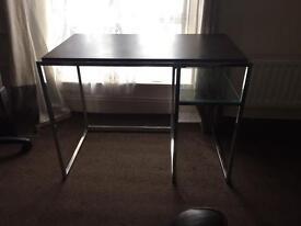 Desk with glass shelf