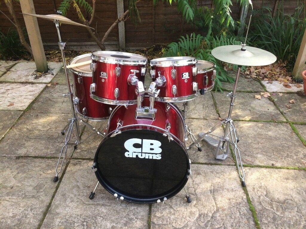 Wokingham Drum Sales - Beginners CB Drum Kit Complete - Red - Small Sizes Kid Friendly
