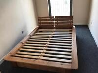 Solid wood double bed for sale