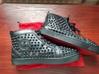 Christian Louboutin men shoes Black Calf Spikes Size 42