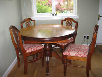 Ercol Extending Dining Room Table & 4 Chairs along with matching Display Cabinet