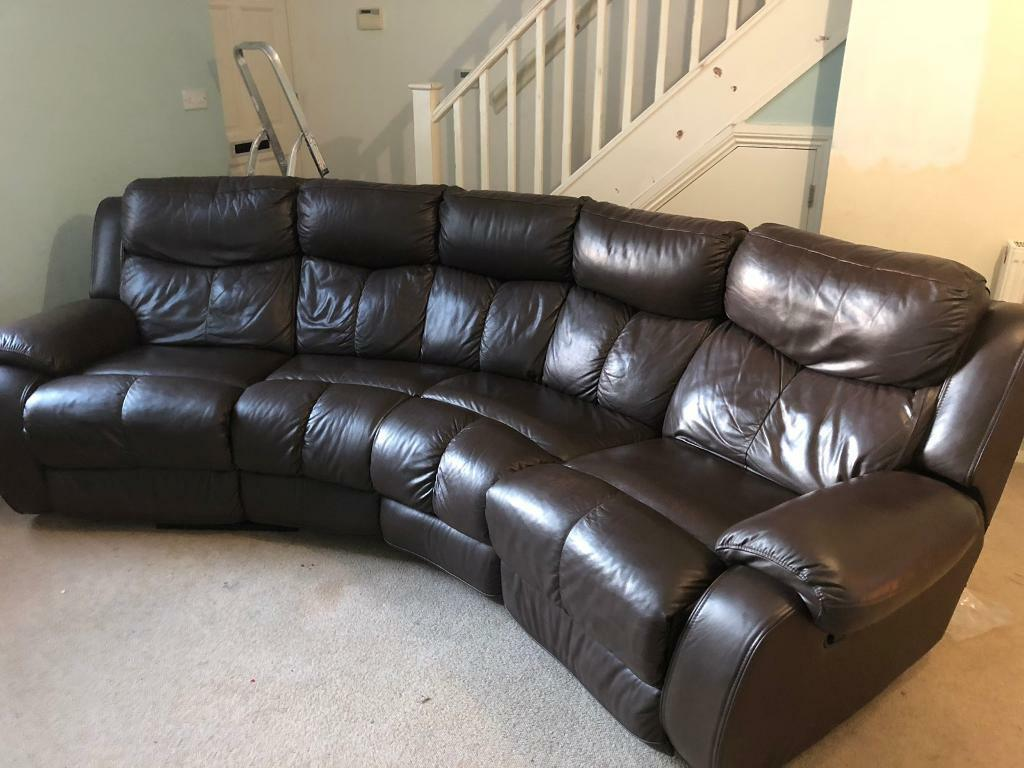 Brown Leather Curved Corner Sofa 4 Seater 2 Reclining Seats Good Condition In Rochester Kent Gumtree