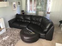 Italian leather armchair, footstool and corner sofa - Mocha