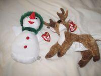 Ty Beanie Babies - Snowgirl & Reindeer