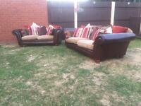 3&2 brown leather and fabric sofas