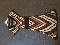 Warehouse stripy brown and black dress size 12